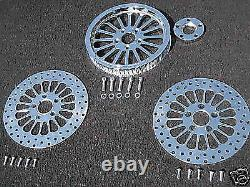 2013'-2014' Fxsb Softail Chrome Super Spoke Pulley/rotor Kit 66 Tooth 1 Belt