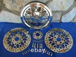 70 TOOTH 1 1/8 MESH STYLE PULLEY KIT WithFRONT & REAR HARLEY ROTORS NEW IN BOX